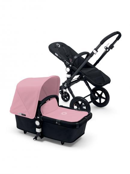 Bugaboo Kombikinderwagen Cameleon 3 Plus komplett schwarz Bekleidungsset Soft Pink