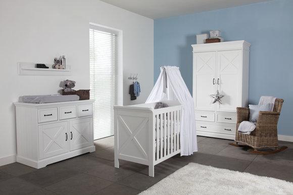 KIDSMILL Kinderzimmer Savona weiß mit Kreuz komplett ( Bett 60 x 120 )  Kleiderschrank 2 türig