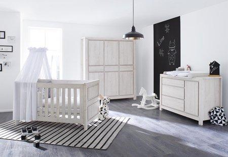 Pinolino Kinderzimmer 'Line' mit extrabreiter Wickelkommode und 6 türigem Kleiderschrank